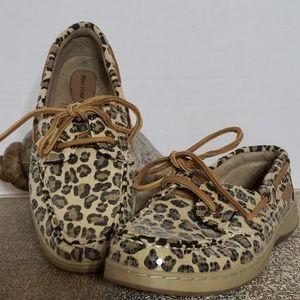 Maui Island Leopard Sequin Boat Shoe Size 6.5